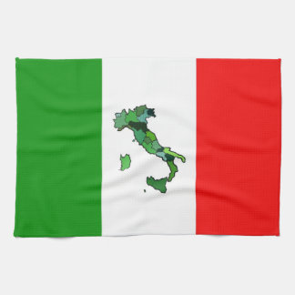 Italian Flag with Map of Italy Kitchen Towel