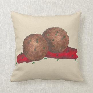 Italian Food Meatballs Marinara Sauce Cooking Throw Pillow
