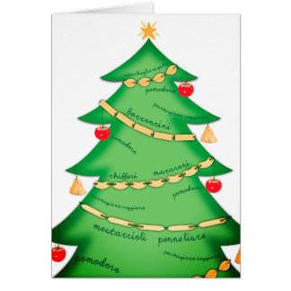 Italian food pasta Christmas tree chef catering Card