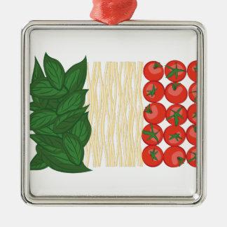 Italian Food Silver-Colored Square Ornament