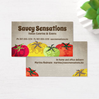 Italian food tomatoes chef catering business card