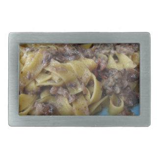 Italian fresh fettuccine or tagliatelle pasta belt buckle