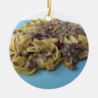 Italian fresh fettuccine or tagliatelle pasta ceramic ornament
