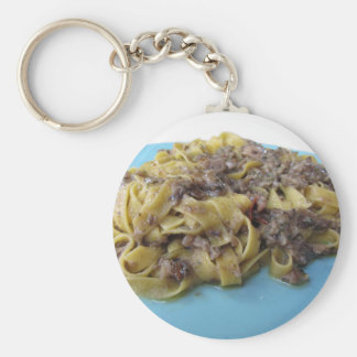 Italian fresh fettuccine or tagliatelle pasta keychain