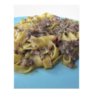 Italian fresh fettuccine or tagliatelle pasta letterhead