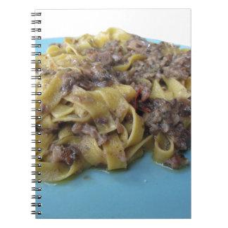 Italian fresh fettuccine or tagliatelle pasta spiral notebook