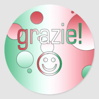 Italian Gifts : Thank You / Grazie + Smiley Face Classic Round Sticker
