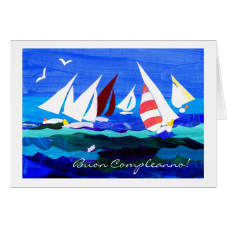 Italian Greeting Birthday Card - Sailing