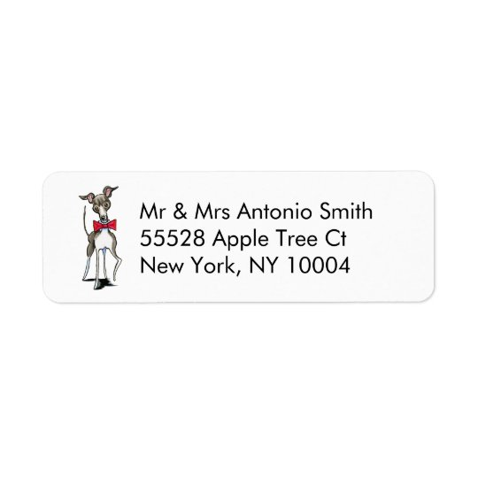 Italian Greyhound Antonio Custom Return Address Label