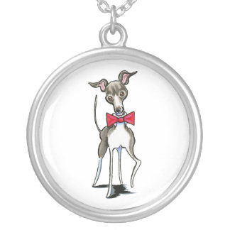 Italian Greyhound Antonio Round Pendant Necklace