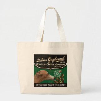 Italian Greyhound Brand - Organic Coffee Company Large Tote Bag