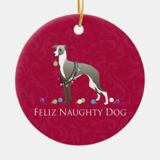 Italian Greyhound Christmas Design Ceramic Ornament