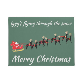 Italian Greyhound Christmas Door Mat