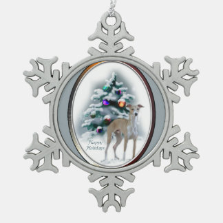 Italian Greyhound Christmas Snowflake Pewter Christmas Ornament