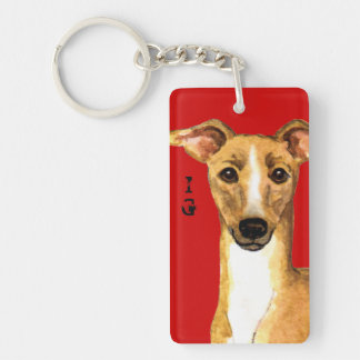 Italian Greyhound Color Block Double-Sided Rectangular Acrylic Keychain