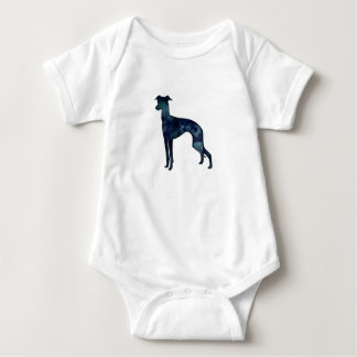 Italian Greyhound Dog Black Watercolor Silhouette Baby Bodysuit