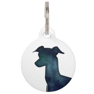 Italian Greyhound Dog Black Watercolor Silhouette Pet Name Tag