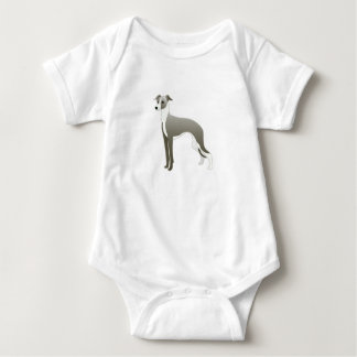 Italian Greyhound Dog Breed Illustration Silhouett Baby Bodysuit