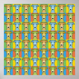 Italian Greyhound Dog Cartoon Pop-Art Poster