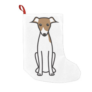 Italian Greyhound Dog Cartoon Small Christmas Stocking