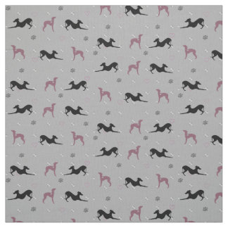 Italian Greyhound Dog Fabric with Pink Iggys