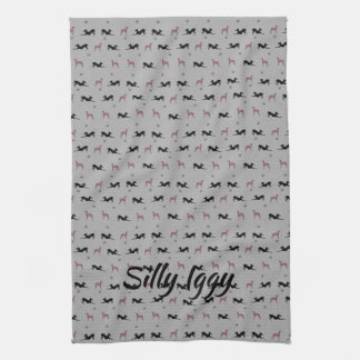 Italian Greyhound Dog Kitchen Tea Towel, Blue Kitchen Towel