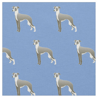 Italian Greyhound Dog Silhouette Tiled - Basic Fabric