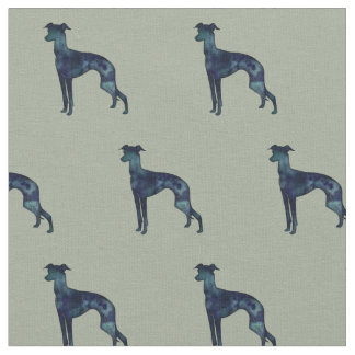 Italian Greyhound Dog Silhouette Tiled - Black WC Fabric