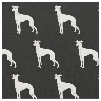 Italian Greyhound Dog Silhouette Tiled - Outline Fabric