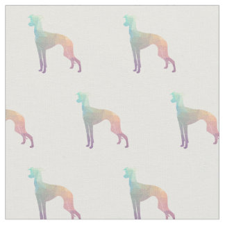 Italian Greyhound Dog Silhouette Tiled - Pastel Fabric