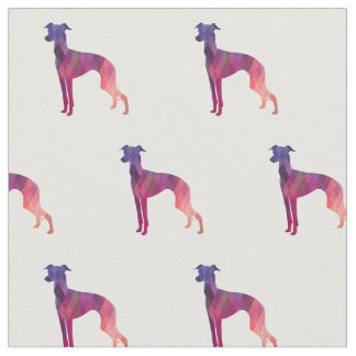 Italian Greyhound Dog Silhouette Tiled - Pink Fabric