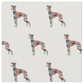 Italian Greyhound Dog Silhouette Tiled - Plaid Fabric