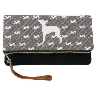 Italian Greyhound Dog Tartan Clutch Purse Bag