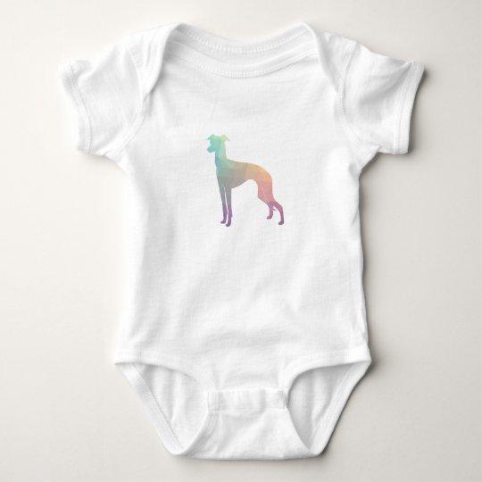 Italian Greyhound Geo Pattern Silhouette - Pastel Baby Bodysuit