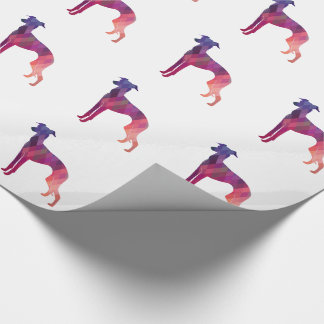 Italian Greyhound Geo Pattern Silhouette - Pink