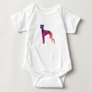 Italian Greyhound Geo Pattern Silhouette - Pink Baby Bodysuit