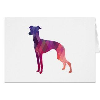 Italian Greyhound Geo Pattern Silhouette - Pink Card