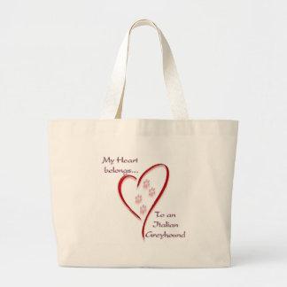 Italian Greyhound Heart Belongs Large Tote Bag