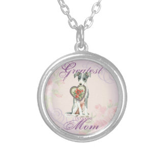 Italian Greyhound Heart Mom Silver Plated Necklace