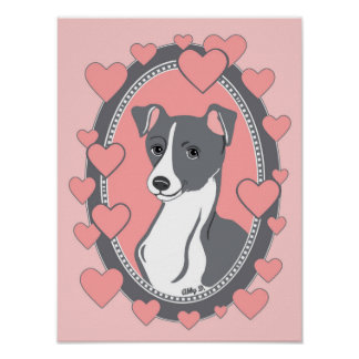 "Italian Greyhound Love Poster, 12"" x 16"" Poster"