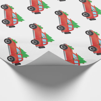 Italian Greyhound or Whippet Driving Christmas car Wrapping Paper