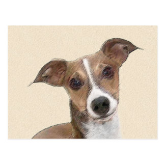 Italian Greyhound Painting - Cute Original Dog Art Postcard
