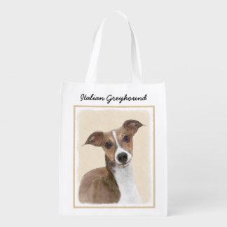 Italian Greyhound Painting - Cute Original Dog Art Reusable Grocery Bag