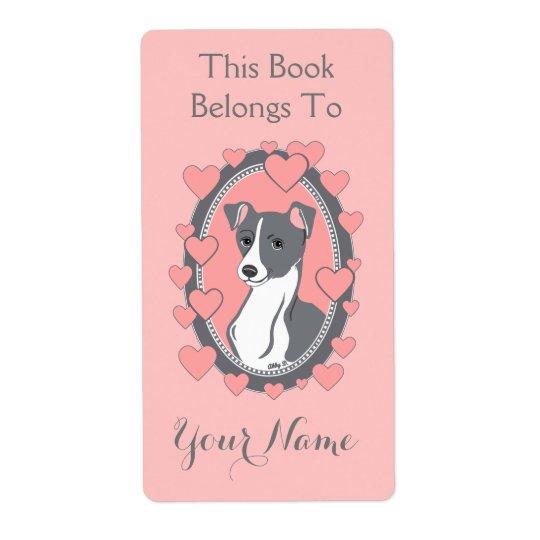 Italian Greyhound Pink Custom Bookplate Labels