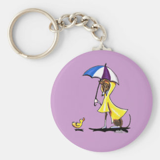 Italian Greyhound Raincoat Basic Round Button Keychain