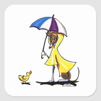Italian Greyhound Raincoat Square Sticker