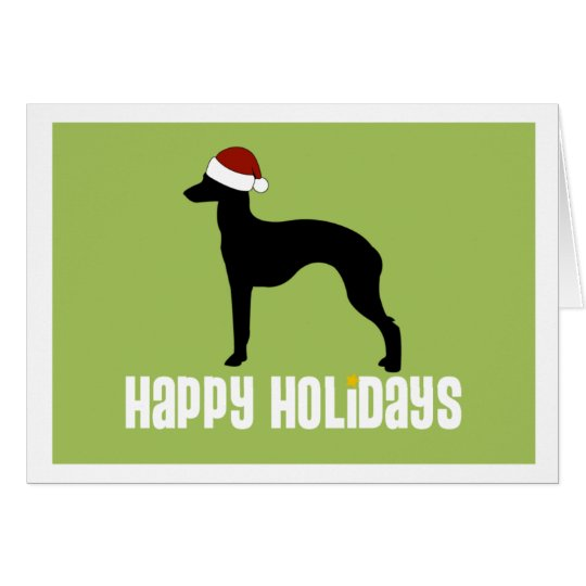 Italian Greyhound Santa Hat Card