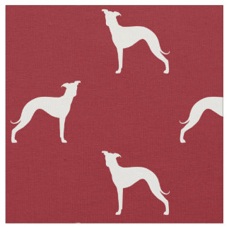 Italian Greyhound Silhouettes Pattern Red Fabric
