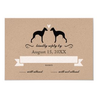 Italian Greyhound Silhouettes Wedding Reply RSVP Card