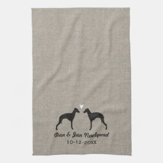 Italian Greyhound Silhouettes with Heart Kitchen Towel